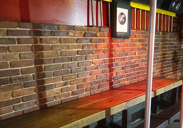bench seating in bar