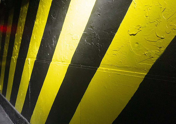 hazard stripes on wall